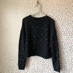 Belle Vere Studded Cropped Sweatshirt